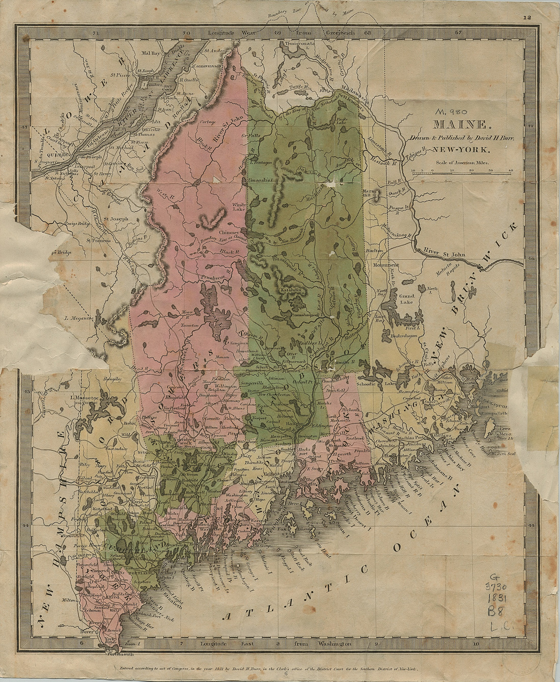 1831 Map of Maine by David H. Burr