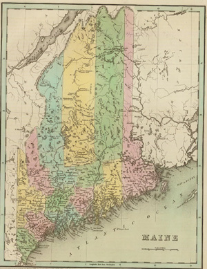 1831 Map of Maine: US claims
