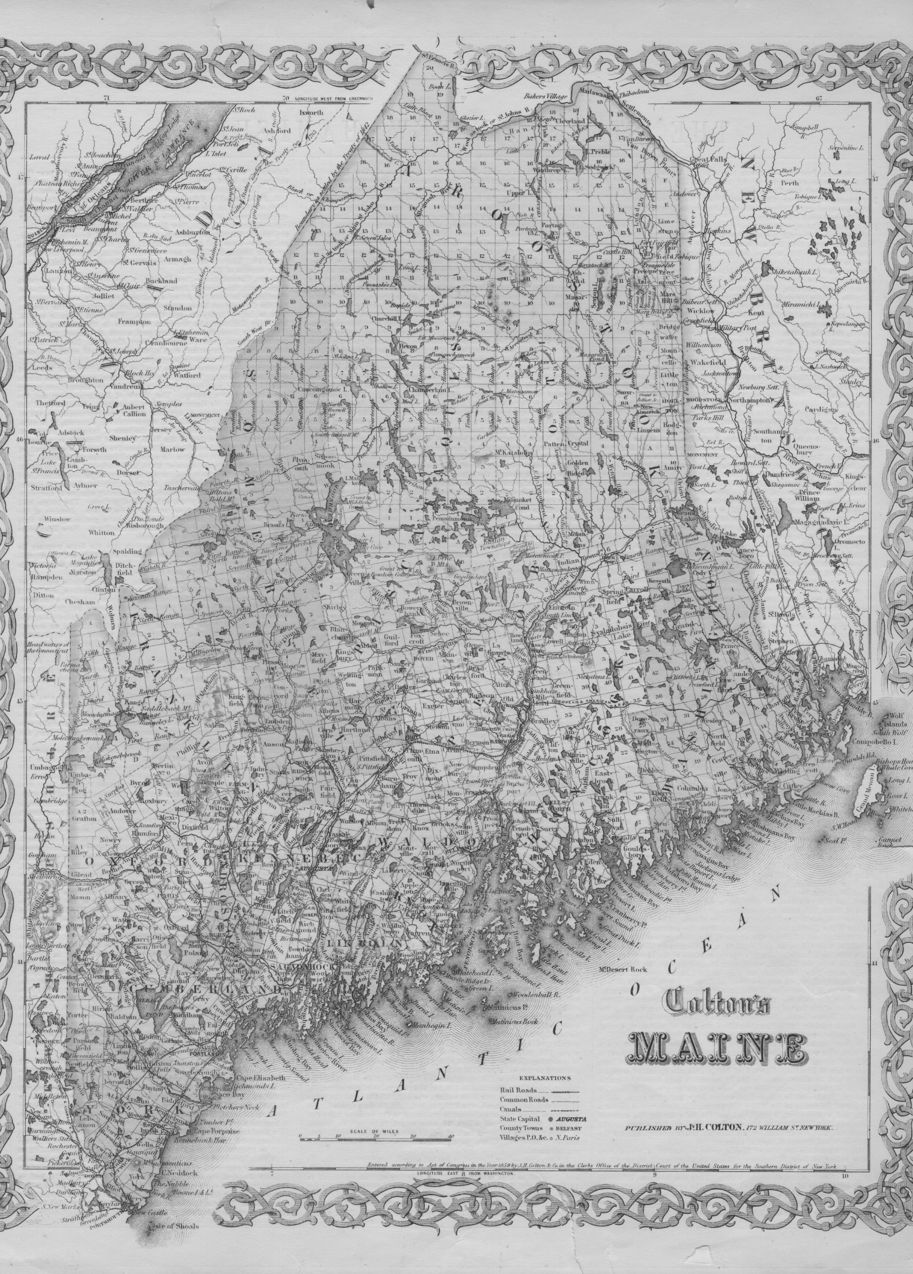 B&W 1859 Colton map