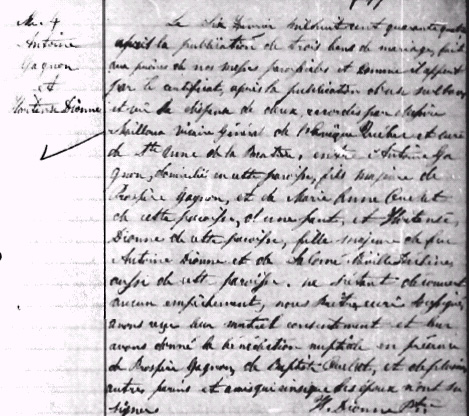 Gagnon-Dionne marriage record, 1844