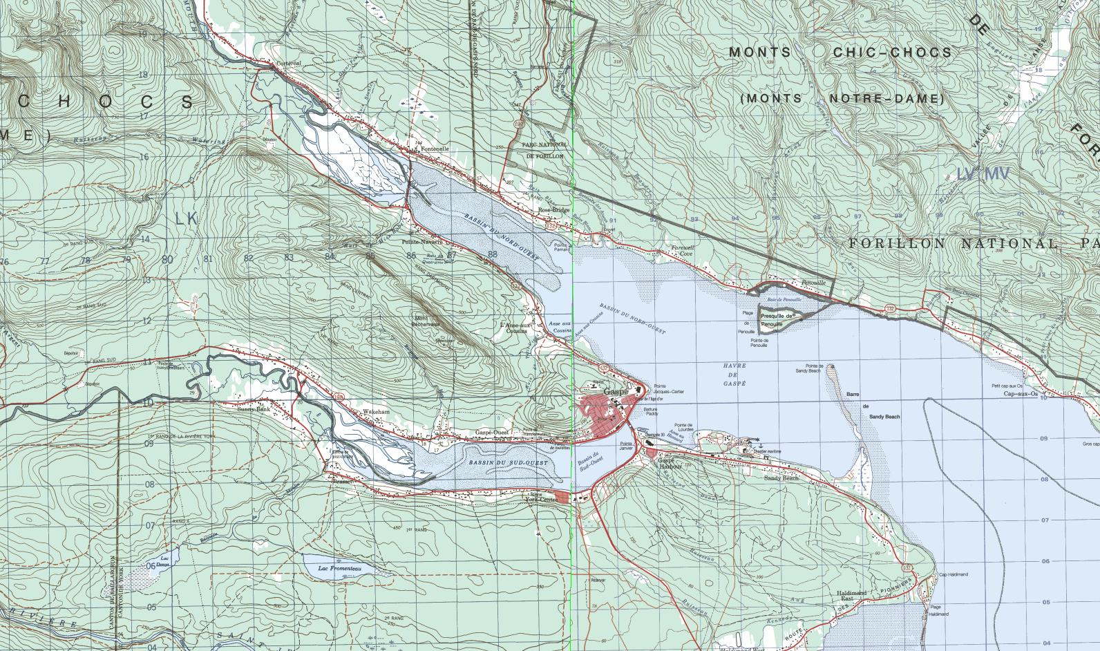 Gasp� basin topographical map